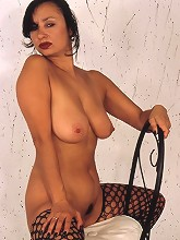 Big boobed Arotica is erotic in leather